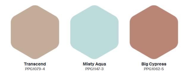 Bảng màu của năm 2021 của PPG được gọi là Be Well và bao gồm ba màu: Transcend, Big Cypress và Misty Aqua.